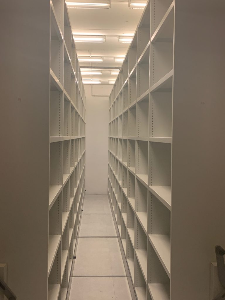empty archive shelves in the DR archive
