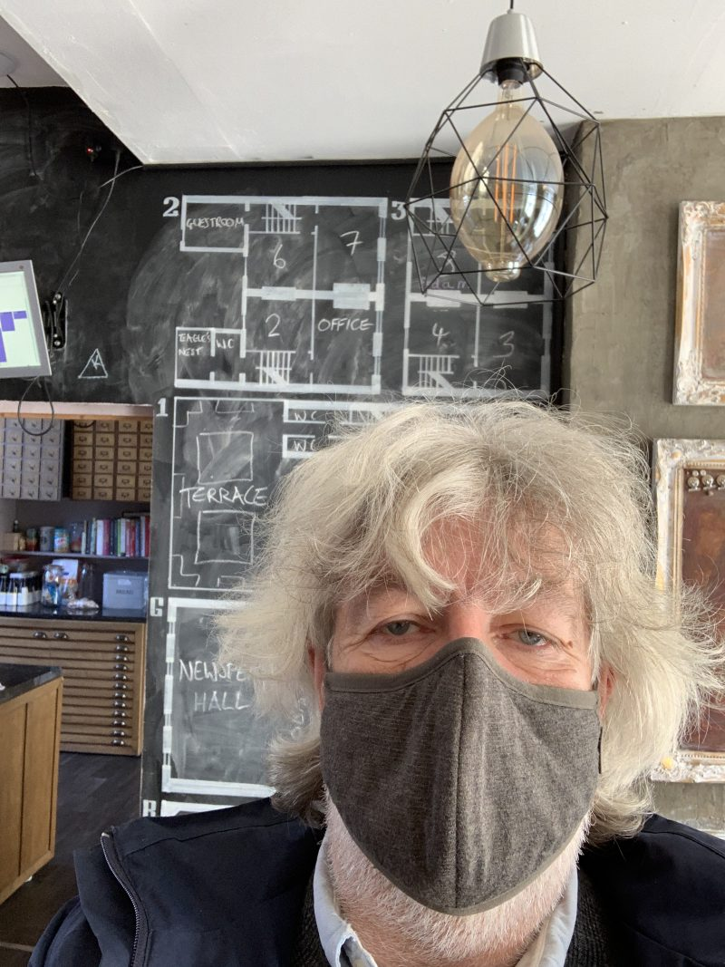 Bill at Newspeak House in a mask, September 2020