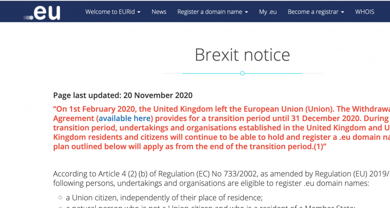 Screenshot from UK government website re .eu domains