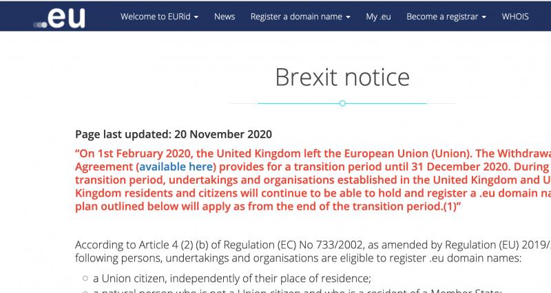 Screenshot from UK government website re .eu domains